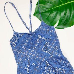 AEROPOSTALE Maxi Dress Blue Strap Print Ruffle XS
